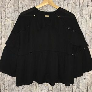 Mustard seed black flow bell sleeve top size small